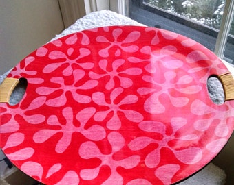 Vintage Tiki Lacquerware Tray--Red with Coral Pink Tropical Flowers