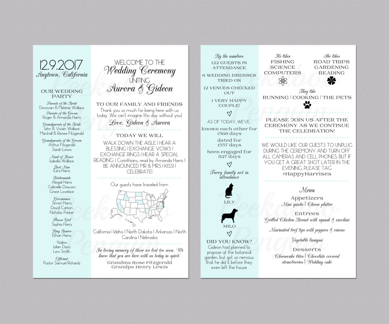 Infographic wedding program fun wedding program by for Wedding program info