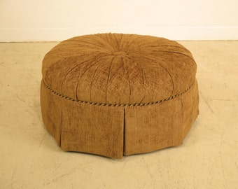 40959E: CENTURY Round Tufted Upholstered Decorative Ottoman