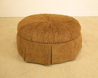 40959E: CENTURY Round Tufted Upholstered Decorative Ottoman
