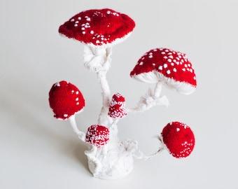 Textile Fungus Specimen Mushroom Toadstool ,Fiber art, Fungus sculpture, weich sculpture