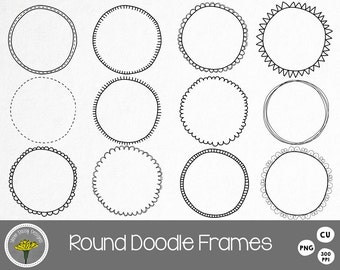 Round Doodle Frames Clip Art, Circles, Instant Download, Digital Scrapbooking,