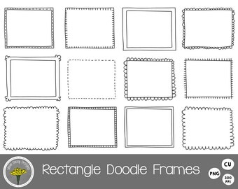 Rectangle Doodle Frames Clip Art, Instant Download, Digital Scrapbooking,