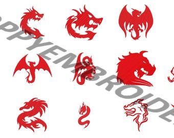 DRAGON Design for Embroidery machine  /  motifs pour broderie machine / instant download