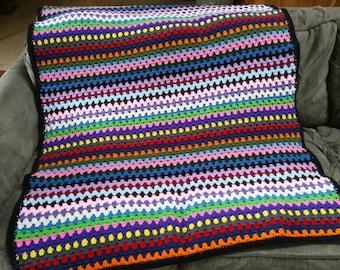 Multi-Colored Granny Stripe Blanket