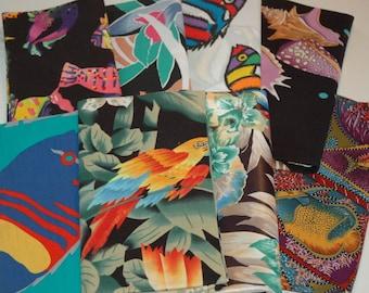 Cotton Fabric Bundle; Fish, Sea Shells, Tropical   #336