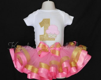 Pink and Gold First 1st Birthday Cupcake ribbon trimmed tutu set.