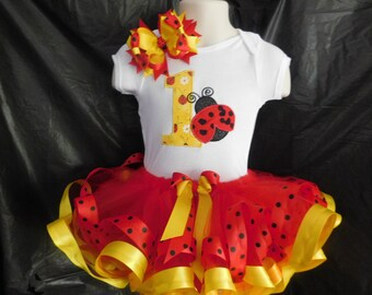 Lady bug birthday tutu set 1st, 2nd, 3rd with matching clip