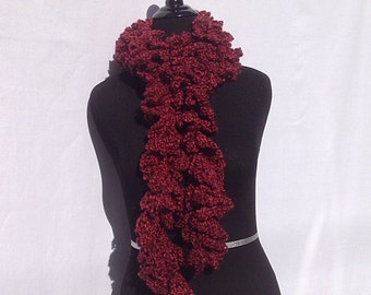 Curly Boa Scarf in Dark Red