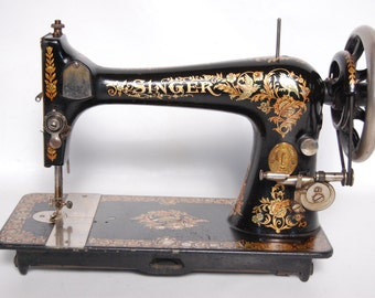 Antique Singer Sewing Machine Rare Crane Decals Made in 1895 Excellent