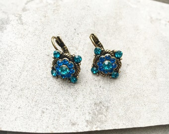 Green & Blue Crystal Earrings, Antique Gold Crystal Earrings, Crystal Leverback Earrings, Gold Crystal French Hook Earrings, Vintage Dangle