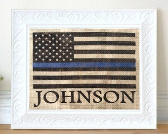 Thin Blue Line Flag, Personalized Police Officer Gift, American Flag, Stars and Stripes, Retirement Gift, Policeman Gift, Wedding Gift, Gift