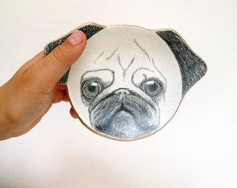 Pugface trinket dish: Hand illustrated pug faces with metallic gold