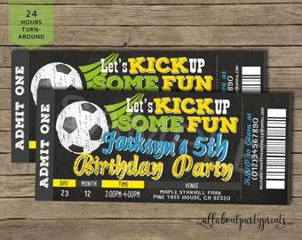 Football birthday invitation- ticket style- pdf format- digital file only- 8x3.5