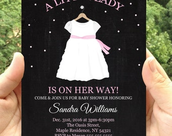 Chalkboard Dress Baby Shower Invitation-Invitation Printable- JPEG Format printables