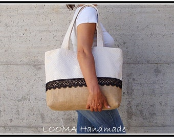 Jute bag and Sardinian Sardinian fabric woven bag Burlap bag Jute tote bag Shopping bag Made in Italy Summer bag