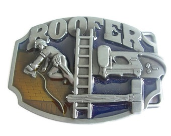 Roofer Tradesman Belt Buckle - Workman Tools Trade Roofing Leather Belts and Buckles