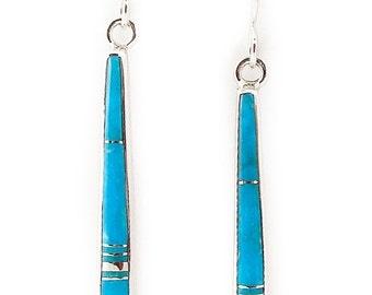 SAVE 15% 925 Silver Navajo Kingman Turquoise Dangle Earrings By Rick Tolino