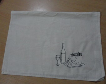 Embroidered Tea Towel - Wine Cheese and Grapes