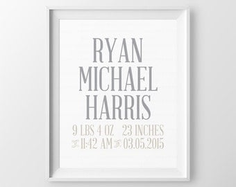 Personalized Baby Boy Shower Gift Baby Birth Stats Baby Nursery Gift Unique Baby Gifts Personal Baby Gifts Newborn Gift Birth Stats Print