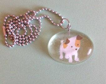 """Resin cute little dog necklace with ball chain 18"""" inch ! Really cute !"""