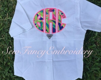Lilly pulitzer monogrammed fishing shirt columbia fishing for Embroidered columbia fishing shirts