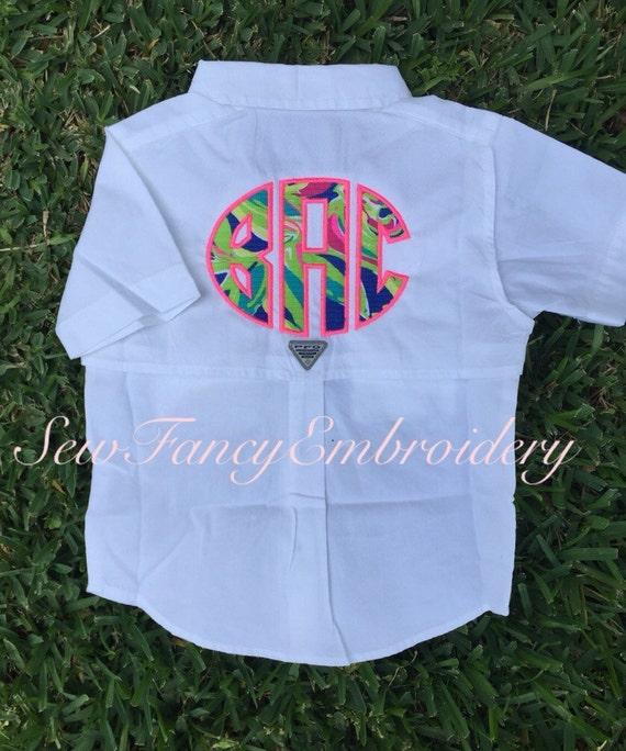 Lilly pulitzer toddler monogrammed fishing shirt columbia for Toddler fishing shirts