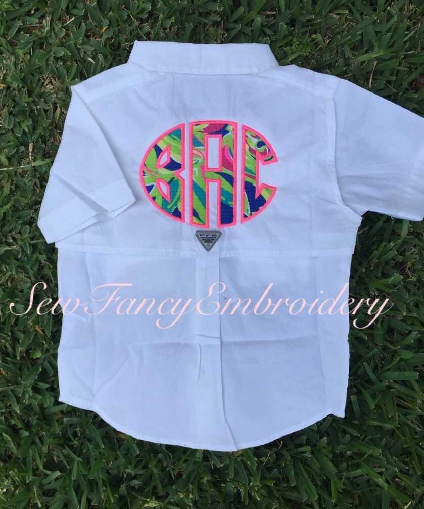 Lilly pulitzer toddler monogrammed fishing shirt columbia for Baby fishing shirts columbia