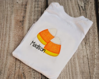 Candy Corn Halloween Shirt Outfit : Toddler or Girls - Personalization included