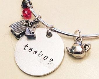 Teaboy Ianto Jones Torchwood Jack Harkness Janto TARDIS Adjustable Bangle Charm Bracelet