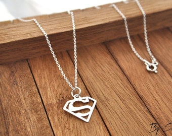 Sterling Silver necklace superman, superman pendant, silver superman, super woman, gift for her, super mom,  a small pendant, necklace
