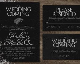 Game of Thrones Printable Digital Wedding Invitations (Invite, Song of Ice and Fire, Stark, Targaryen, Baratheon, Martell, Winter, GoT)