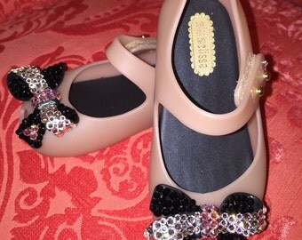 Mini Melissa's for your mini-me!!! Peep toe Mary Janes adorned with 100% Swarovski Crystals
