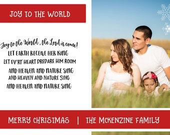 Modern Christmas Photo Card, Greeting Card, Printable Holiday Card, Joy To The World, Family Photo Card