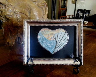 Iris Folded Blue Heart Framed Art Picture