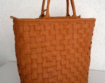 Camel Brown Leather Tote Bag - Leather Bag - Brown Leather Bag-Distressed Leather Bag
