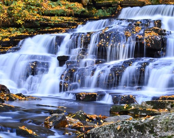 New York Photography, Waterfall Photography, Water cascade and fall leaves, Pearlescent Print, New York State, Adirondacks photography