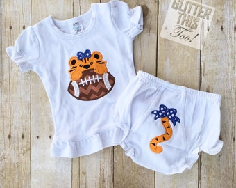 Game Day Football Tiger Toddler/Infant Bloomer Set