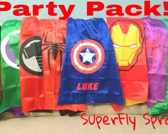 READY TO SHIP! Set of 20 Twenty Kids Boys Girls Superhero Capes - 35+ Characters! Ironman, Spiderman, Captain America, Hulk, Avengers, More!