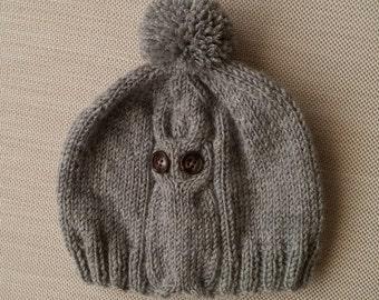 Wool hat,knitting hat,knit baby hat,toddler,child,adult hat,pompom hat,mum dad child set,family hat set,owl hat,birthday gift,beanie,owl