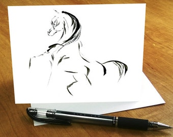 Horse card, Arabian stallion card, Zen horse greeting card, Abstract horse card, Equestrian card, Minimalist Ink Arabian horse birthday card