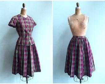 Vintage 1950's Plaid Skirt Set   Size Small