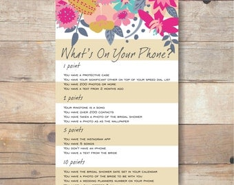 whats in your phone game, printable bridal shower games, party printables, instant download, party games, bridal phone game br35