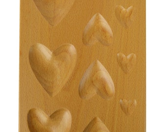 11 Cavity Heart Shaped Hardwood Dapping Block Jewelry Tool - FORM-0067