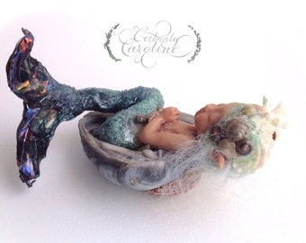 Baby Mermaid Bather, Commissioned Art Doll // Sleeping baby art doll, OOAK polymer clay mermaid doll, baby mermaid art doll, mermaid baby