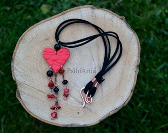 Red and black necklace Heart necklace Heart jewelry Choker necklace Choker jewelry Polymer clay necklace Polymer clay heart Gift for her