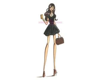 "Fashion illustration print, ""Camille"", Fashion sketch art, Fashion art print, Fashion illustration sketch"