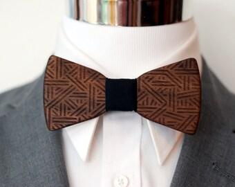 Tribal Wood Bow Tie - Walnut Wood - Wooden Bowtie - Suits - Wood Bowtie - Men's Ties - Interchangeable Neck Strap