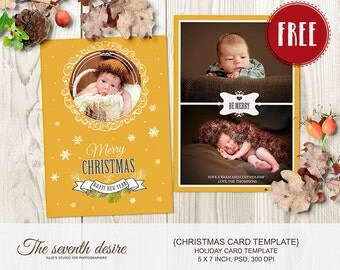 FREEBIE - Christmas Card Template, 5x7 inсh - Holiday Card Template, INSTANT DOWNLOAD