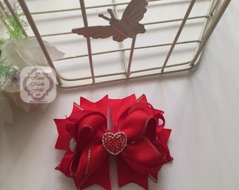 Red Heart Luxury Valentine Boutique Hair Bow Hair band Hair Accessories